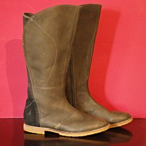 Womens Ahnu Helena Pewter Leather Suede Boots